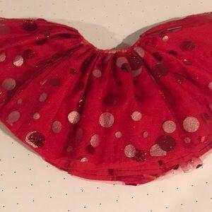 Gorgeous red/ silver  polka dot tutu